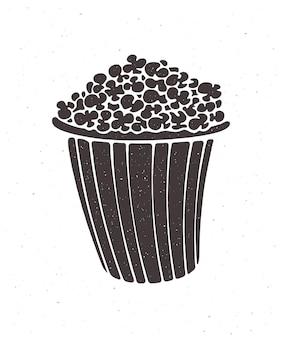 Silhouet van emmer vol popcorn vector illustratie clipart voor menu's uithangborden