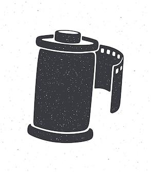 Silhouet van fotofilm in cartridge vectorillustratie fotografische rolfilm