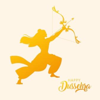 Silhouet van heer rama met pijl en boog in gelukkig dussehra-festival
