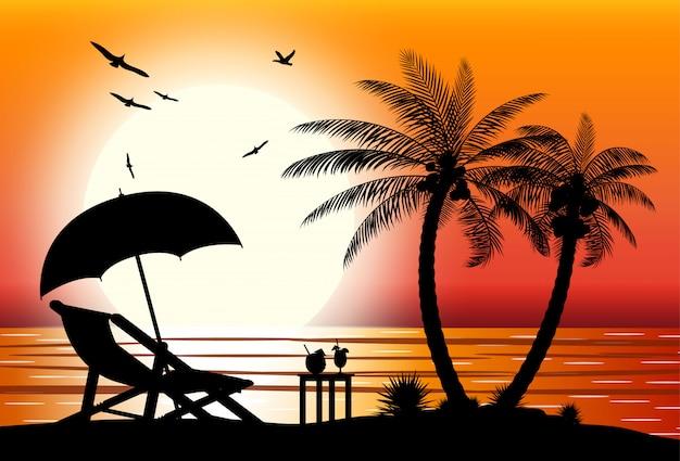 Silhouet van het strand