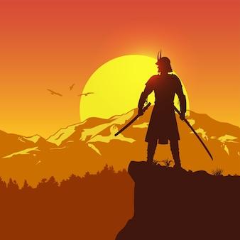 Silhouet van japanse samoerai met zwaard dat zich bovenop een heuvel bij zonsondergang bevindt, vector