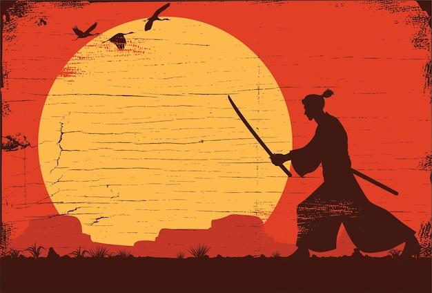 Silhouet van japanse samoeraienstrijder met zwaard