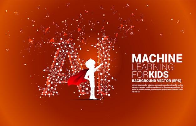 Silhouet van jongen in superheldenpak staande polygon dot connect lijnvormige ai. concept voor machine learning en kunstmatige intelligentie voor kinderen.