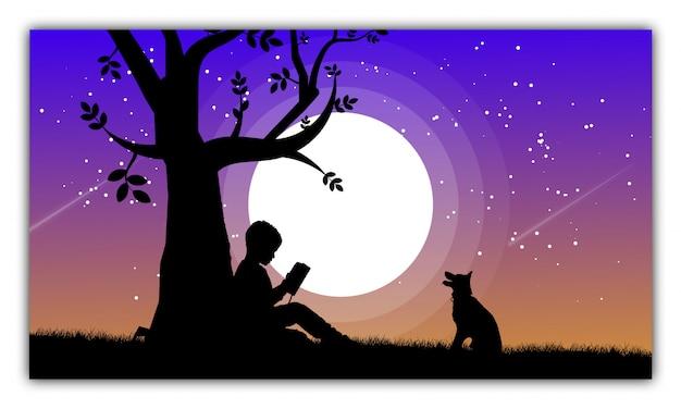 Silhouet van kinderen die een boek lezen onder een boom met hond bij nacht