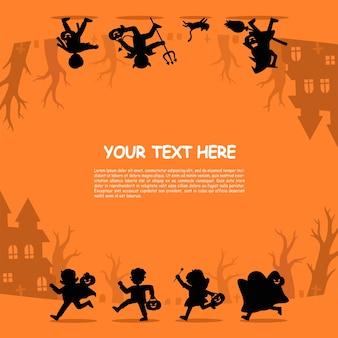 Silhouet van kinderen in halloween-gekostumeerd om te gaan trick or treating.template voor reclamefolder. fijne halloween.