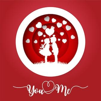 Silhouet van kinderen kussen op valentijnsdag