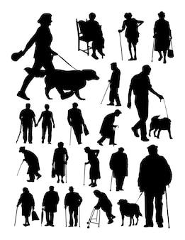 Silhouet van lopende mensen