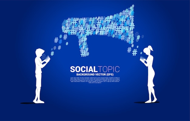 Silhouet van man en vrouw mobiele telefoon met grote megafoon gebruiken. concept voor sociale media-onderwerp en nieuws.