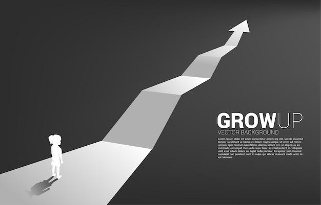 Silhouet van meisje dat zich op route met de groeipijl bevindt