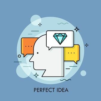 Silhouet van menselijk hoofd omringd door tekstballonnen en diamant. concept van perfecte idee-generatie, briljante geest.