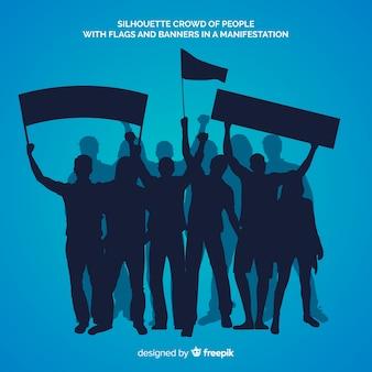 Silhouet van mensen in een demonstratie