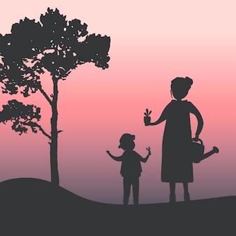 Silhouet van moeder en zoon tuinieren vector
