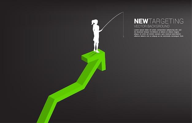 Silhouet van onderneemster die bovenop grafiek vissen. banner van targeting en aas in het bedrijfsleven.
