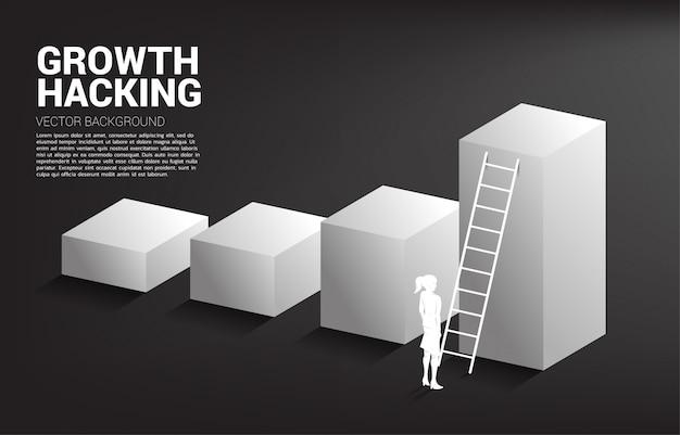 Silhouet van onderneemster klaar om zich omhoog op grafiek met ladder te bewegen.