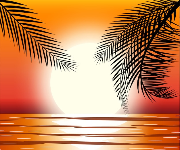 Silhouet van palmboom op strand.