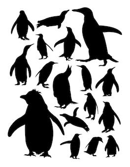 Silhouet van pinguïns