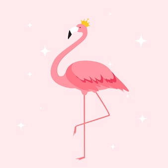Silhouet van prachtige gekleurde flamingo's in kroon