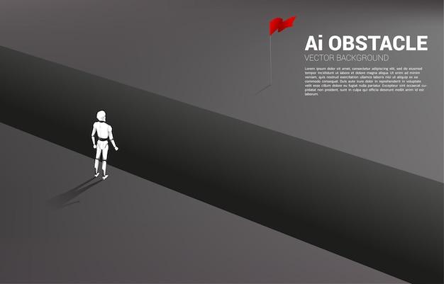 Silhouet van robot die zich bij afgrond bevindt die naar doel kijkt.