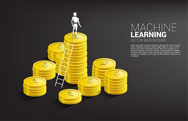 Silhouet van robot die zich bovenop muntstukstapel met ladder bevindt. concept van investeringen in kunstmatige intelligentie.