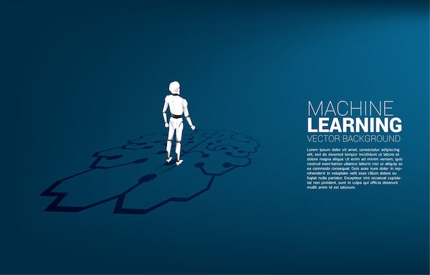 Silhouet van robot die zich op grafisch hersenenpictogram op vloer bevindt. concept van investeringen in kunstmatige intelligentie.