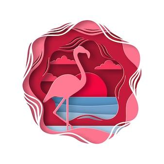 Silhouet van roze flamingo in origami stijl.