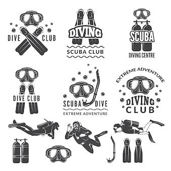 Silhouet van scuba-uitrusting en duikers. labels voor zeesportclub