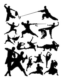 Silhouet van shaolin vechtsporten