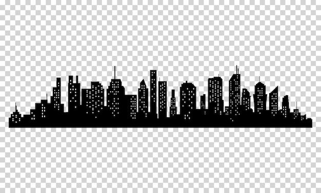 Silhouet van stad met zwarte kleur