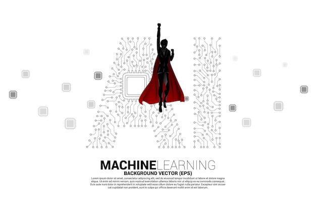Silhouet van superheld die vliegt met dot connect lijnvormige ai en cpu-centrum. concept voor machine learning en kunstmatige intelligentie.
