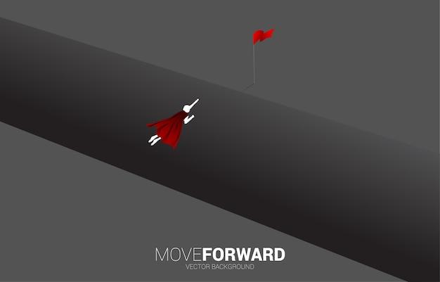 Silhouet van superheld vliegen over de afgrond. concept van zakelijke uitdaging en moed man