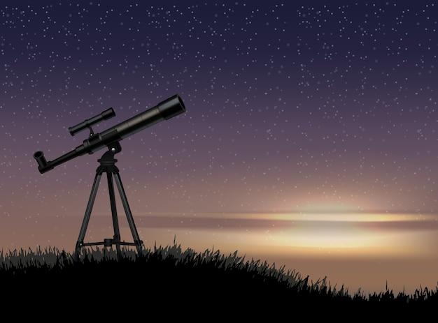 Silhouet van telescoop op de rots met de ster aan de hemelzonsondergang