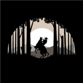 Silhouet van texas forest en paard vectorillustratie