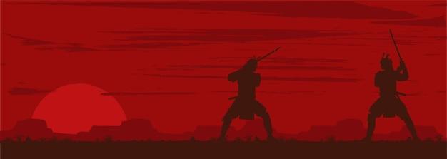 Silhouet van twee japanse samurai-zwaardgevechten