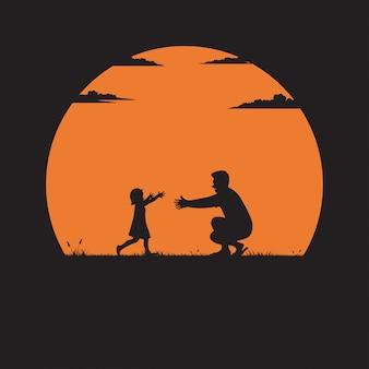 Silhouet van vader en dochter