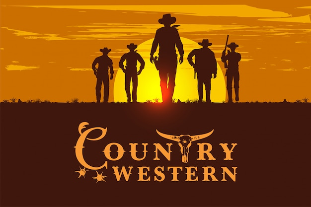 Silhouet van vijf cowboys die vooruit, uitstekend teken lopen