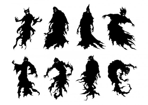 Silhouet van vliegende kwade geest in stijlinzameling die op wit wordt geïsoleerd.