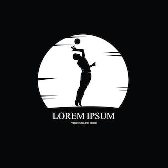 Silhouet van volleyballer, zwart-wit afbeelding