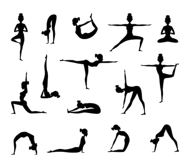 Silhouet van vrouw die yoga maakt. verzameling sportfoto's.