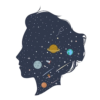 Silhouet van vrouw met ruimte op haar gezicht