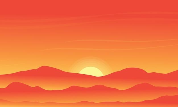 Silhouet van woestijn op oranje achtergronden