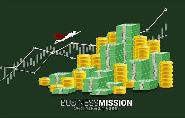 Silhouet van zakenman die naar hogere bovenkant van bankbiljetstapel vliegt. concept van boost en groei in het bedrijfsleven.