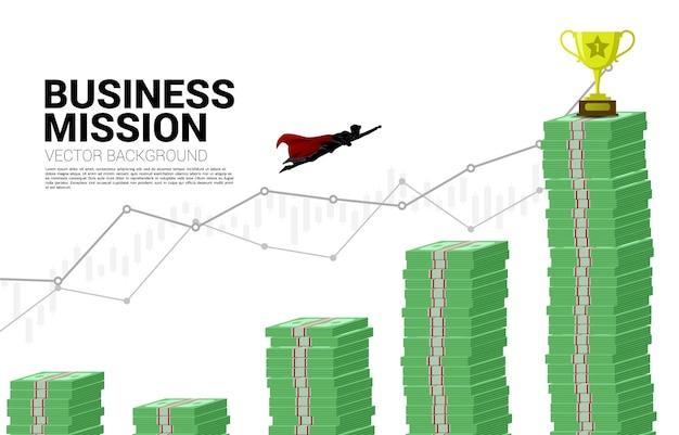 Silhouet van zakenman die naar hogere kolom van grafiekbankbiljetstapel vliegt. concept van boost en groei in het bedrijfsleven.