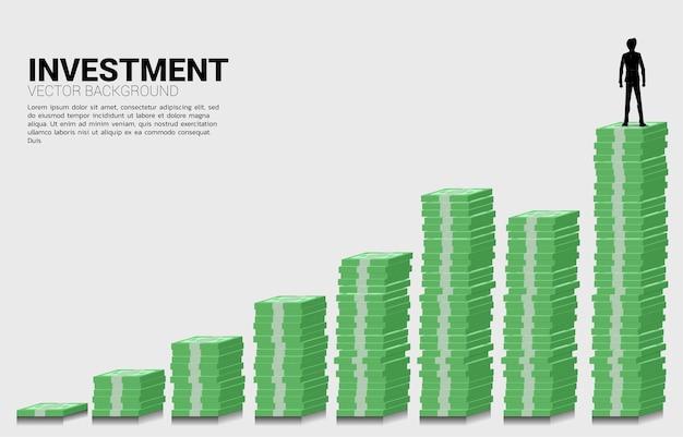 Silhouet van zakenman die zich op de groeigrafiek van stapel bankbiljetten bevindt. concept van succeszaken en carrièrepad.