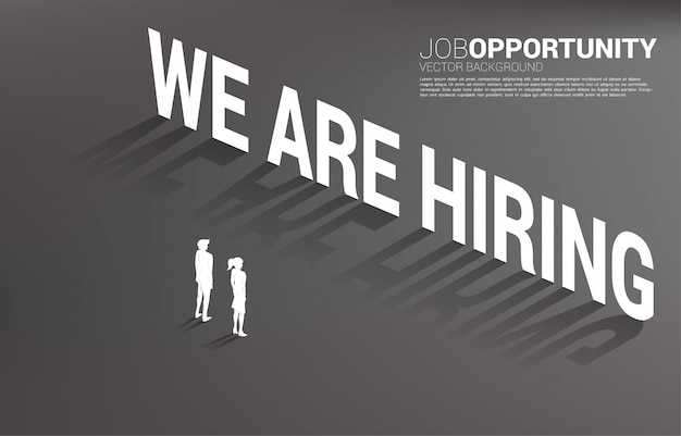Silhouet van zakenman en onderneemster die zich bevinden met huren wij koptekst. concept voor vacatures en carrière.