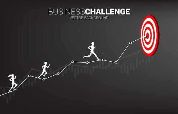 Silhouet van zakenman en zakenvrouw die op de pijlgrafiek lopen naar dartbord. concept voor zakelijke uitdaging en concurrentie.