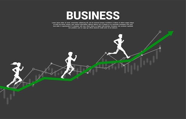 Silhouet van zakenman en zakenvrouw die op grafiek lopen. bedrijfsconcept van succes in het bedrijfsleven