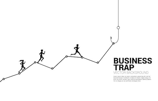 Silhouet van zakenman en zakenvrouw die op lijngrafiek met visserijhaak lopen. concept aas en haak in zaken.