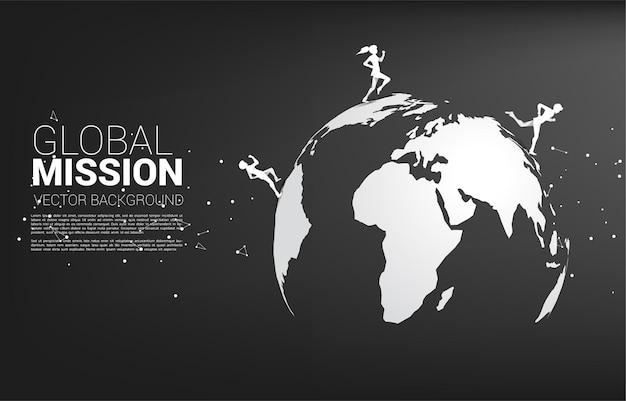 Silhouet van zakenman en zakenvrouw die op wereldbol draait. bedrijfsconcept van de missie van het werelddoel.