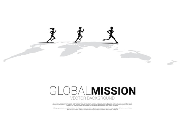 Silhouet van zakenman en zakenvrouw die op wereldkaart lopen. bedrijfsconcept van de missie van het werelddoel.