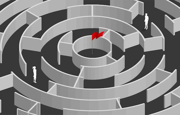 Silhouet van zakenman en zakenvrouw die zich in het spel van het cirkeldoolhof bevinden. bedrijfsconcept voor het oplossen van problemen en het vinden van idee.